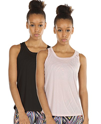 icyZone Yoga Tops Activewear Workout Clothes Open Back Fitness Racerback Tank Tops for Women(M,Black/Pale Blush)