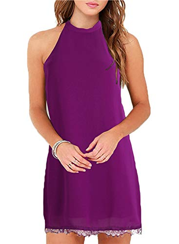 Fantaist Women's Casual Summer Sundress Sleeveless Halter Mini Short Tunic Dress (L, FT610-Purple)