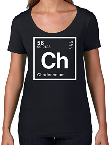 Charlene - Periodic Element - Womens Scoop Neck T-Shirt - Black XL ()