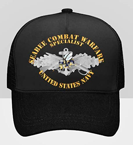 BaseBall Cap - Seabee Combat Warfare Spec Badge - EM w Color Bee w Txt