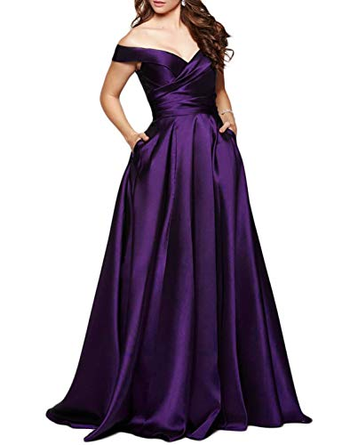 Scarisee Women's Long Off-The-Shoulder Prom Evening Dresses with Pockets Formal A-line Wedding Party Bridesmaid Gowns Purple 26 Plus