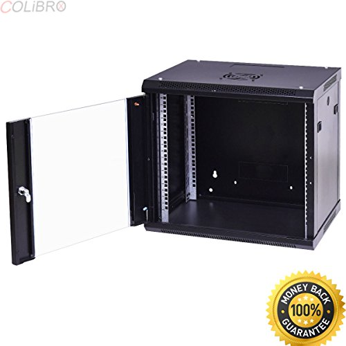 COLIBROX--9U Wallmount Data Cabinet Enclosure 19'' Server Network Rack w Locking Glass Door. cheap server rack for home. network rack shelf. navepoint cabinet. navepoint rack review. rack cabinet. by COLIBROX