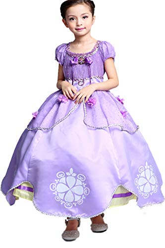 Little Girls Princess Sofia Costume Dress up Cosplay Fancy Party Dress (4T/5,120) Purple