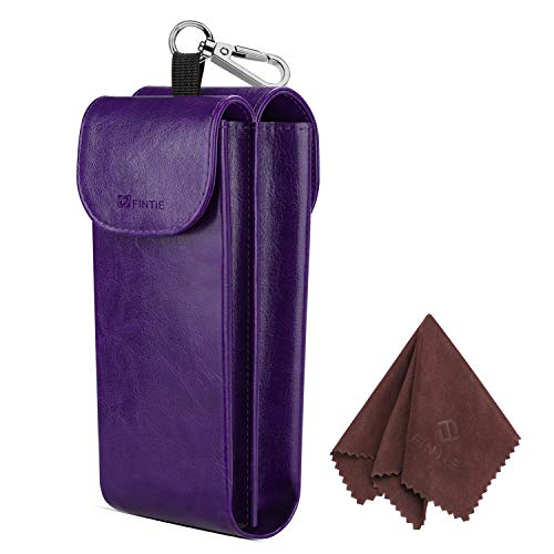 Eyeglass Case Large - Fintie Double Glasses Case with Carabiner Hook, Portable Vegan Leather Eyeglass Case Anti-scratch Sunglasses Pouch, Purple