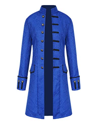 Tinyones Men's Steampunk Vintage Tailcoat Jacket Gothic Victorian Frock Coat Uniform Halloween Costume (M, Blue) ()