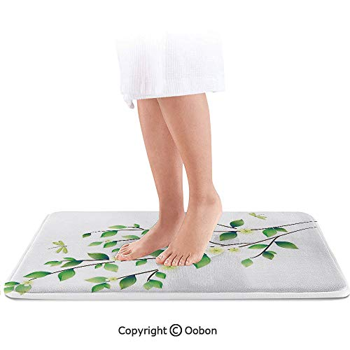 (Dragonfly Bath Mat,Leaves with Little Dragonflies and Jasmine Environmental Botanical Illustration,Plush Bathroom Decor Mat with Non Slip Backing,24 X 17 Inches,Green White)