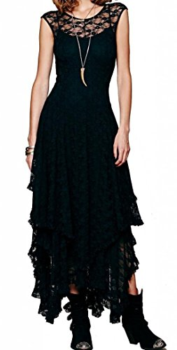 R.Vivimos Womens Sleeveless Backless Asymmetrical Layered Lace Long Dress with Slip Two Pieces (Large, Black)