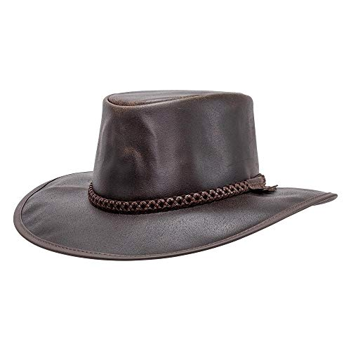 American Hat Makers Crusher by American Outback Leather Hat, Chocolate - Large