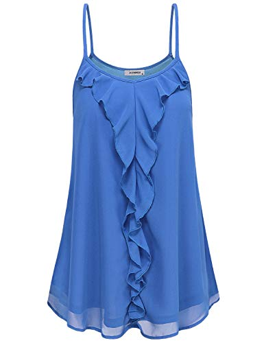 Loose Fitting Tank Tops for Women, Juniros Crew Neck Sleeveless Solid Mini Dress Summer Casual Stylish Ruffle Spaghetti Strap Camisoles Tunic Shirts Royal Blue XL
