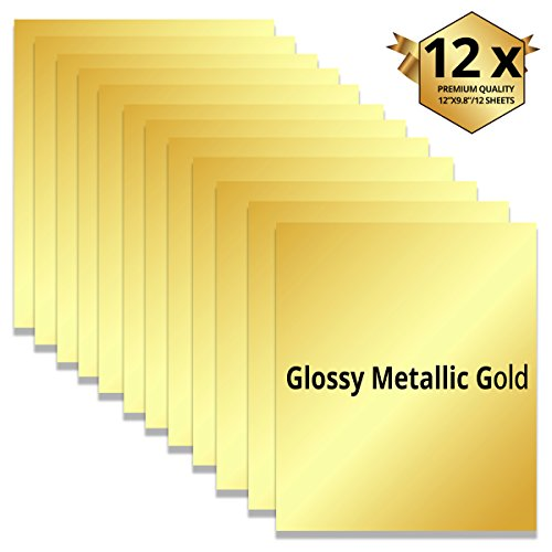 Value Vinyl (Metallic Gloss Gold Heat Transfer Vinyl Sheets 12 Sheets -Best Iron On HTV Vinyl for Silhouette Cameo, Heat Press & Cricut Machines (gloss gold))