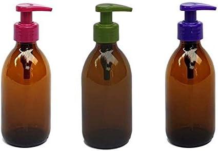 Versandfuxx24 - Juego de 3 dispensadores de jabón | Dispensador de loción de 250 ml de cristal marrón.