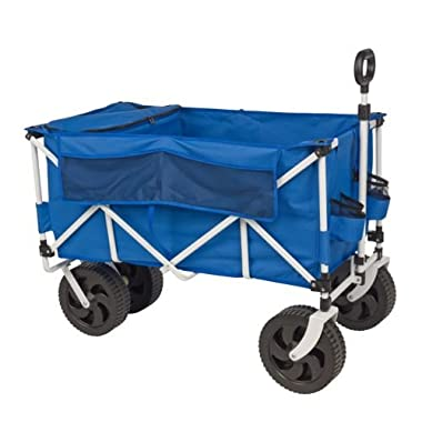 Outdoors™ All-Terrain Powder-coat Steel Frame Offers Durability, Heavy-duty, Blow-molded Wheels Allow Wheeling Over Rough Terrains, Folding Cart with Cooler