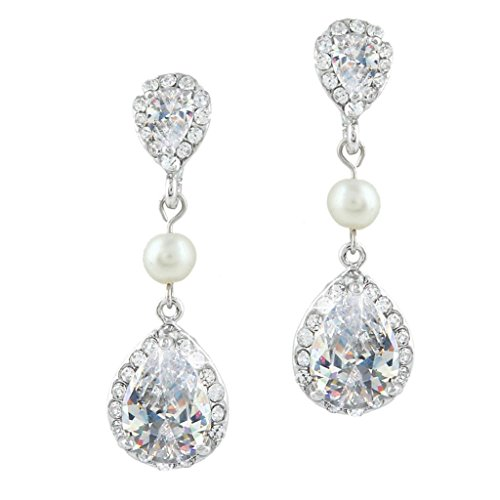 EVER FAITH® Bridal Ivory Color Simulated Pearl Drop Earring Clear Zircon Crystal (Ivory Bridal Earring)
