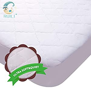 Ultra Soft&Quiet Waterproof Crib Mattress Protector,Quilted Fitted Baby Waterproof Mattress Pad with Extra Ultrasonic Padding,High Absorbency&Stain Protection Crib Mattress Cover for Stains Proof