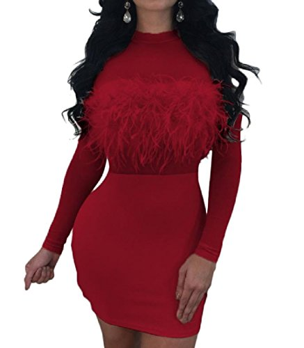 See Through Solid Crewneck Red Hip Dress Comfy Stitching Womens Package qwtPWfI