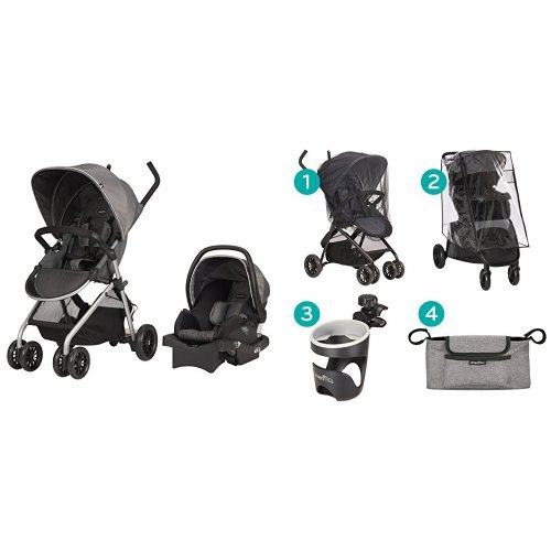Evenflo Sibby Travel System, Highline Gray with Stroller Accessories Starter Kit