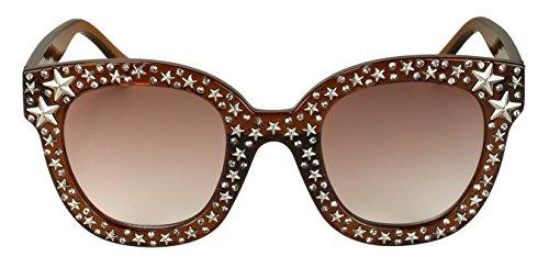 Edge-I-Wear Cat Eye Round-shaped Rhinestone Sunglasses w/Stars and Flat Color Lens - 5 Top Sunglasses