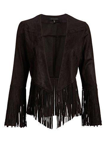 Womens Black Faux Suede Fringe Open Jacket - Size Large - Suede Fringe Jacket