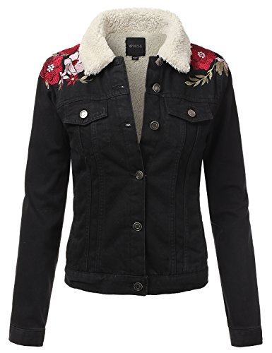 Stitch Denim Jacket (DRESSIS Womens Vintage Faux Fur-Lined Embroidered Button Down Denim Jacket Black S)