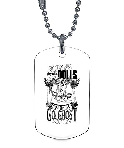 OMANECK Real Girls Go Ghost Hunting Necklaces, Ghost Hunter Dog Tag (Dog Tag Necklaces - White)
