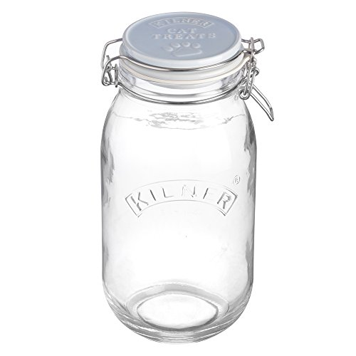- Kilner Glass Round Clip Top Cat Treat Biscuit Storage Jar Embossed Ceramic Lid 10 5-1/4-Inches by 5-Inches, 68-Fluid Ounces, Clear