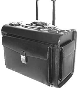 Mancini Black Lawyer/litigation Rolling Leather Briefcase
