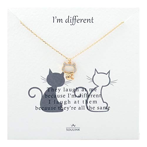 Soulink Kitty Cat Charms Pendant Necklace for Women (Yellow Gold)