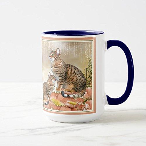 Zazzle Bengal Cat Gifts Travel Mug, Navy Blue Combo Mug 15 oz