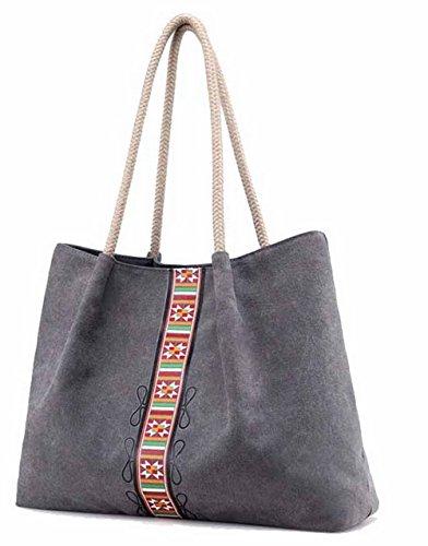 GMDBB180726 Casual Canvas Gray Shopper Travel Women's Tote Bags AgooLar ToteStyle qwaC761