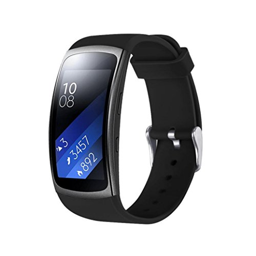 For Samsung Gear Fit 2 Pro Band,ColorfulDaily Soft Silicone Sports Strap Replacement Wristband For Samsung Gear Fit 2 Pro Fitness Watch (Black)