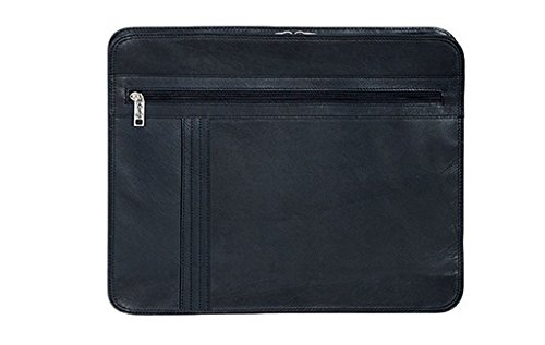 (Scully Leather 2 Way Zippered Writing Letter Pad Business Organizer Black)