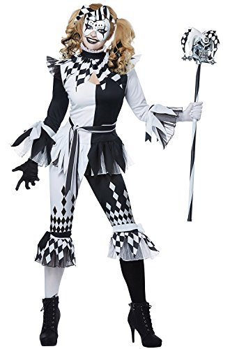 California Costumes Women's Crazy Jester Adult Woman Costume, Black/White, Extra Small