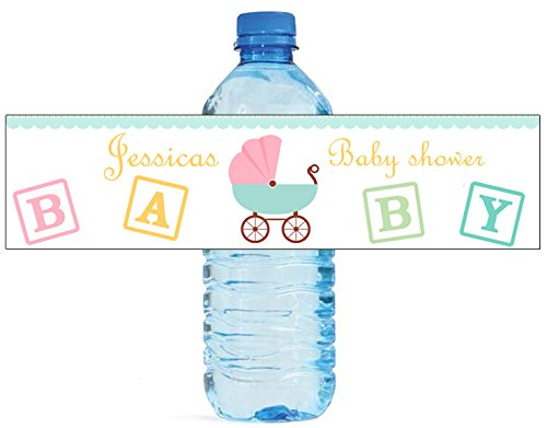 100 Baby Carriage Shower Birthday Party Water Bottle Labels 8