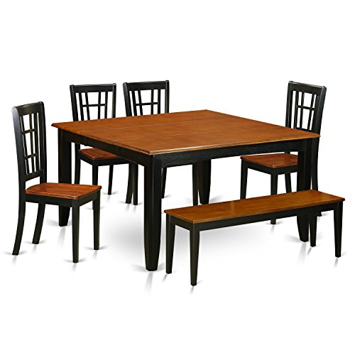 East West Furniture PFNI6-BCH-W 6 Piece Dining Table and 4 Wooden Chairs Plus One Bench Set