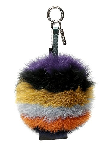 Wiberlux Fendi Women's Green Strap Fur Pom-Pom Ball Key Ring One Size Multi-Color by Wiberlux