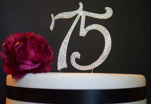 75 Rhinestone Cake Topper - Premium Crystal Rhinestones - Monogram Number Seventy Five - 75th Birthday or Anniversary Party Decoration - Crystals Securely Attached - Perfect Keepsake (75 Silver)