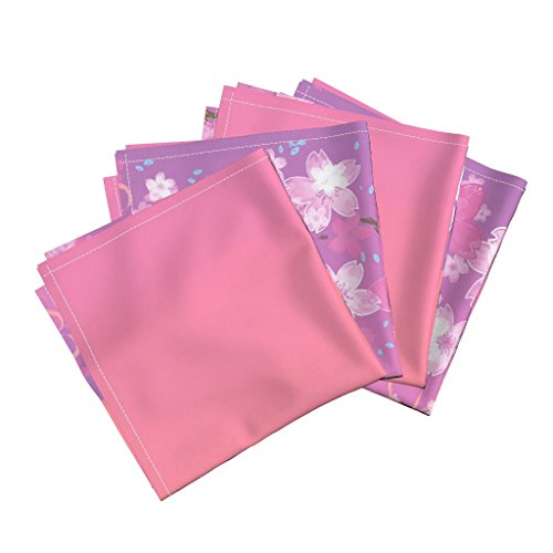 Roostery Japanese Linen Cotton Dinner Napkins Japanese Sakura by Risu Rose Set of 4 Cotton Dinner Napkins Made by Roostery