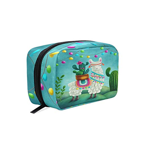 Blossom Cactus Cartoon Alpaca Llama Makeup Bag Cosmetic Bag Toiletry Travel Bag Case for Women, Green Succulent Plant Animal Portable Organizer Storage Pouch Bags Box