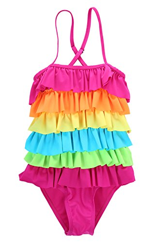 Rainbow Girls Swimsuit - Little Girls Ruffled Rainbow Striped Bathing Suits Bikini Swimwear XL( 6-7years)