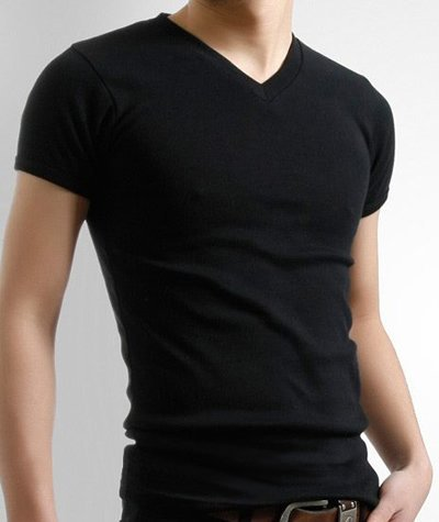 New Mens Slim Fit V-neck/crew neck T-shirt Short Sleeve Muscle Tee Size S M L XL (Black, Medium) ACD.auto