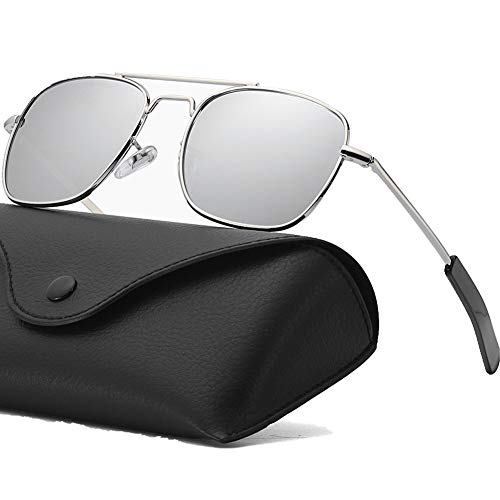 Mens Aviator Sunglasses Polarized Lense Pilot Aviator Sunglasses for Men 55mm Retro Military Navigator Army Classic Square Metal Sun Glasses for Women Silver Frame Silver Mirrored Lens