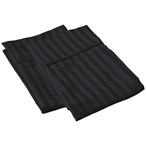 SGI bedding 600 Thread Count 100% Egyptian Cotton 21x56 Body Pillow Cover Black Stripe Solid
