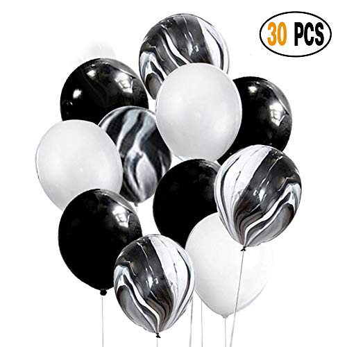 DIvine 30 Pcs 12 Inch Black White Balloons Set, Black Agate Marble Tie Dye Swirl Balloons, Black and White Latex Balloons for Birthday Party Decorations Baby Showers -