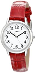Timex Women's TW2P687009J Easy Reader Silver-Tone Watch with Red Leather Band