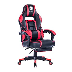 KILLABEE Racing PC Gaming Chair Ergonomic High-back reclining Office Desk Chair Swivel with Retractable Footrest and Adjustable Lumbar Cushion, Red&Black