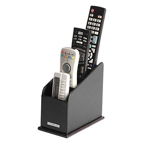 JackCubeDesign 3 Compartments Black Leather Remote Control Organizer Holder, Controller TV Guide, Media Storage Box – :MK292A by JackCubeDesign