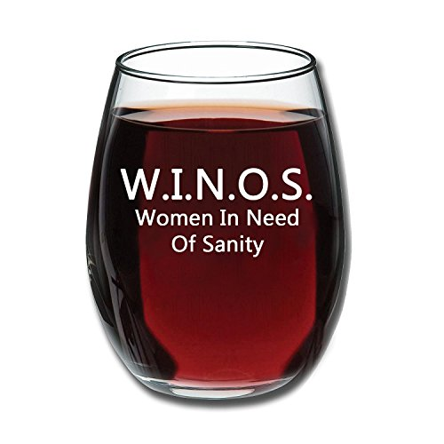W.I.N.O.S. Women In Need Of Sanity - Funny Stemless Wine Glass 15oz - Wine Gift - Unique Gift for Mom, Her - Perfect Birthday Gift for Women - Wine Lover - White Elephant Gift