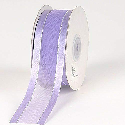 3/8'' Colors Lavender Organza w/Metallic Gold Satin Edge Ribbon Gift Wrap Arts and Craft 25 Yards 3/8' Satin Edge Organza Ribbon