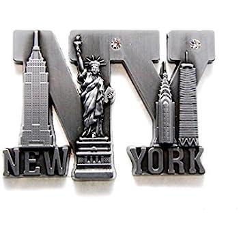 Bold NY Letter Shape New York Souvenir Metal Fridge NY Magnet - Brooklyn Bridge,Statue of Liberty,Empire State Building, NYC Skyline Metal Magnet (Pack 1)