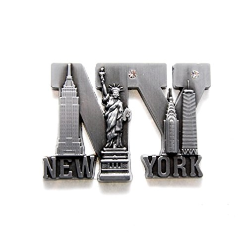 (Bold NY Letter Shape New York Souvenir Metal Fridge NY Magnet - Brooklyn Bridge,Statue of Liberty,Empire State Building, NYC Skyline Metal Magnet (Pack 1))